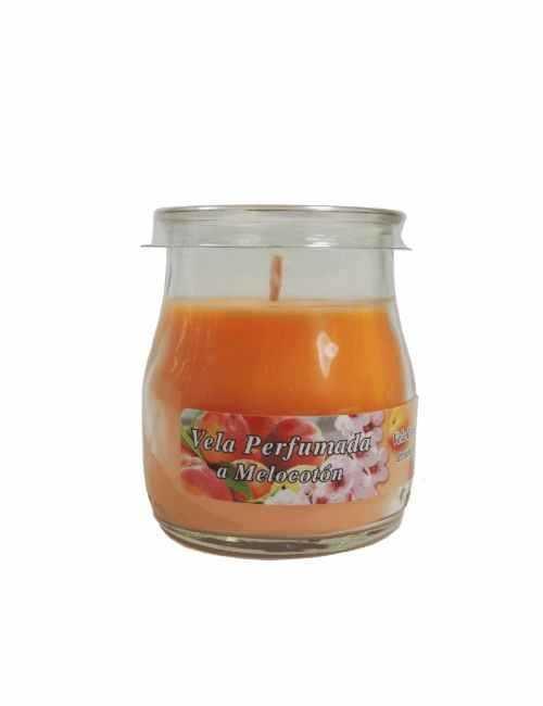 Vela con un vaso para usar directamente en el recipiente con aroma a Melocotón