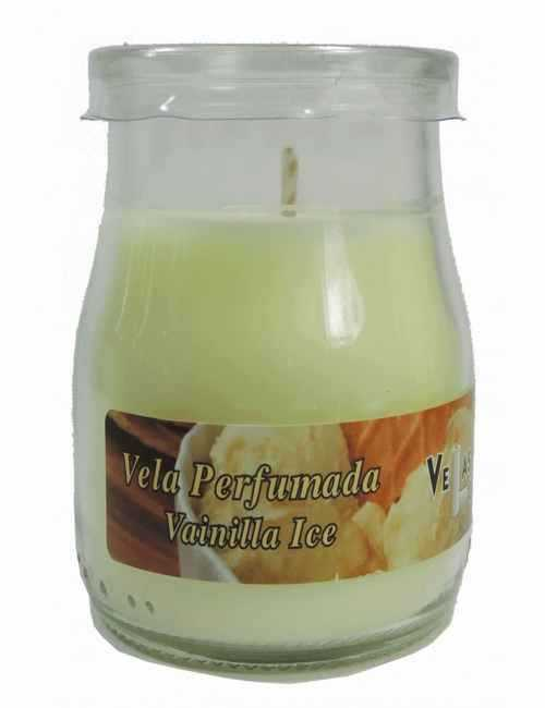 Vela con un vaso para usar directamente en el recipiente con aroma a Vainilla