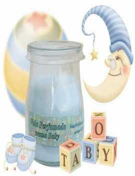 Vela con un vaso para usar directamente en el recipiente con aroma a Infantil