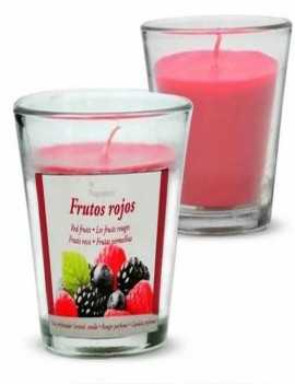 Vela con un vaso Grande para usar directamente en el recipiente con aroma a Frutos del Bosque