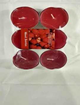Velas formato Tea Grandes aroma a Frutos del Bosque contiene 6 unidades