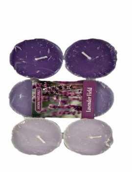 Velas formato Tea Grande aroma a Lavanda contiene 6 unidades