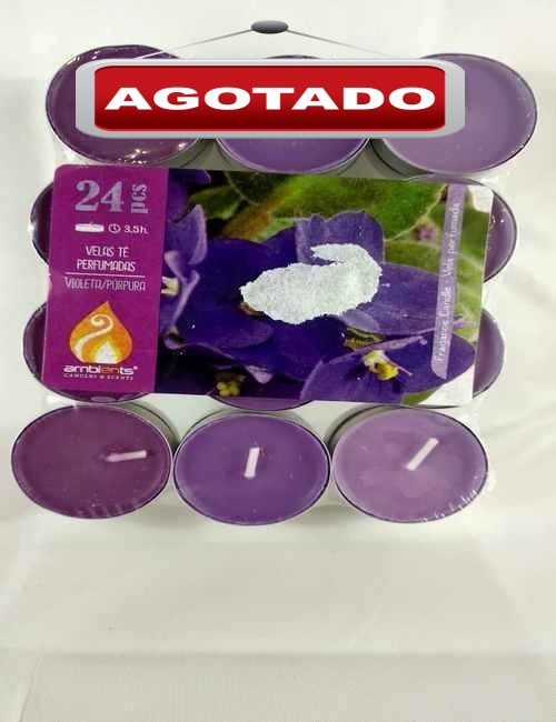 Velas formato Tea aroma a Violeta contiene 24 unidades