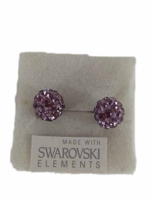 Pendiente de bola con cristalitos de Swarosvski color lilas