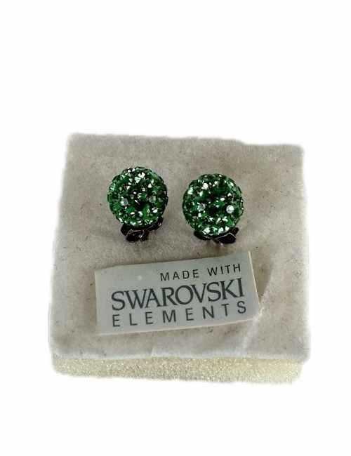 Pendiente de bola con cristalitos de Swarosvski color Verdes