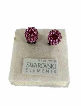 Pendiente de Bola con cristales de Swarovski de color Rosa