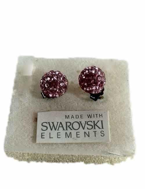 Pendiente de Bola con cristales de Swarovski de color Rosa Claro