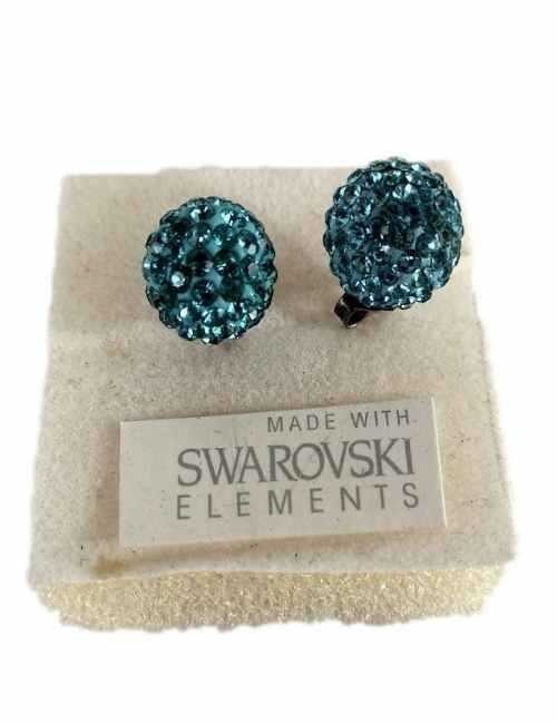 Pendiente de Bola con cristales de Swarovski de color Azul Zafiro