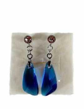 Pendientes en forma de lagrima grande Swarovski color Azul