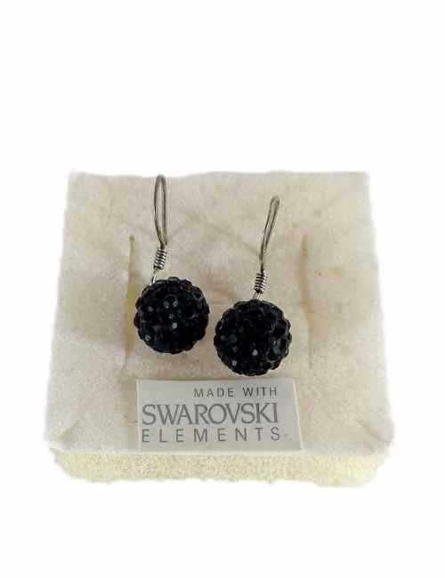 Pendientes de bola para colgar con cristales de Swarovski en color Negro