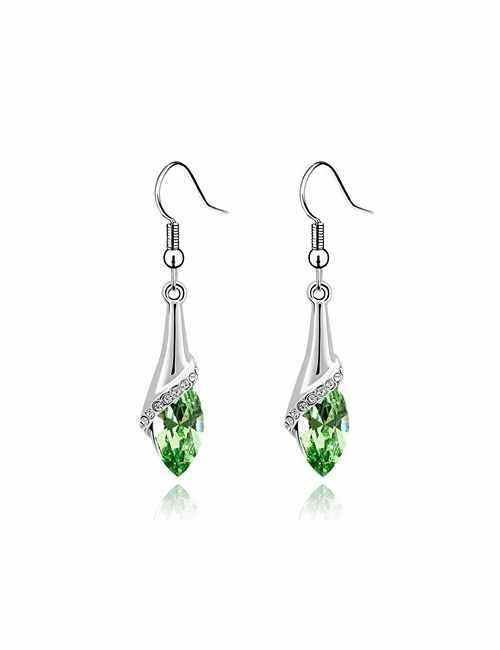 Pendientes en forma de Lagrima con cristal de Swarovski color Verde