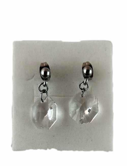 Pendientes sencillos de colgar con cristal transparente de Swarovski