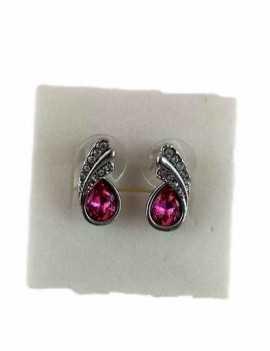 Pendientes en forma de gota pequeños con cristales de Swarovski color Rosa