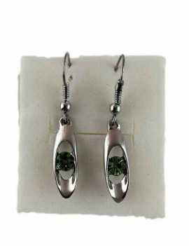 Pendientes de Colgar con un pequeño cristal de Swarovski color Verde
