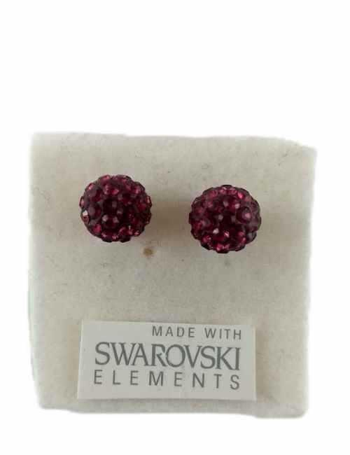 Pendientes de bolita con cristales de Swarovski color Granate