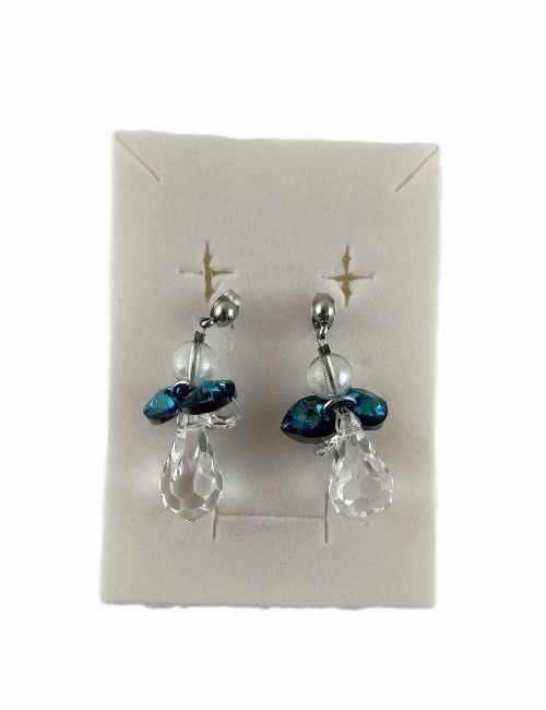 Pendientes en forma de angel con Cristales de Swarovski y las Alas son de Color Azul