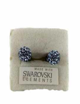 Pendientes de Bolita con cristales de Swarovski color Azul Crisacio