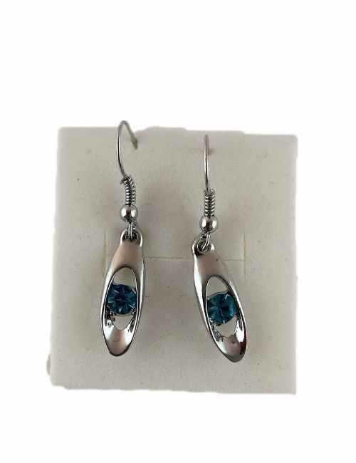 Pendientes de colgar con un cristal pequeño de Swarovski color Azul Claro