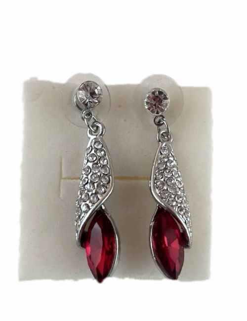 Pendientes Grandes de Colgar con brillos y cristal de Swarovski color Rojo