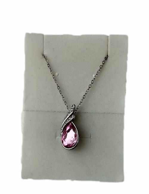 Colgante en forma de gota con cristal de Swarovski con color Rosa