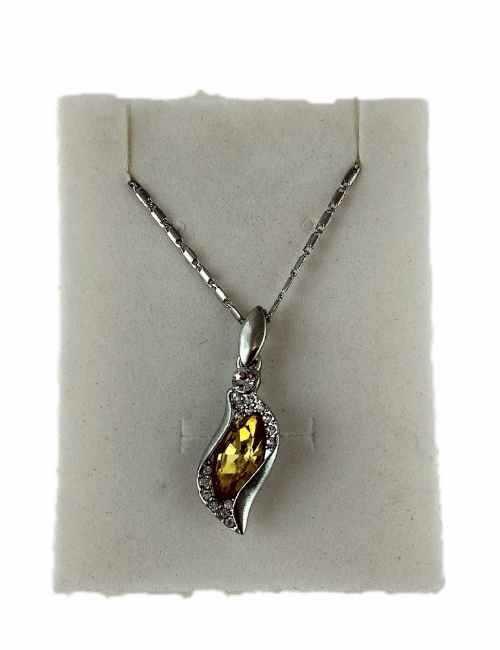 Colgante con forma de Lagrima con cristal de Swarovki color Amarillo