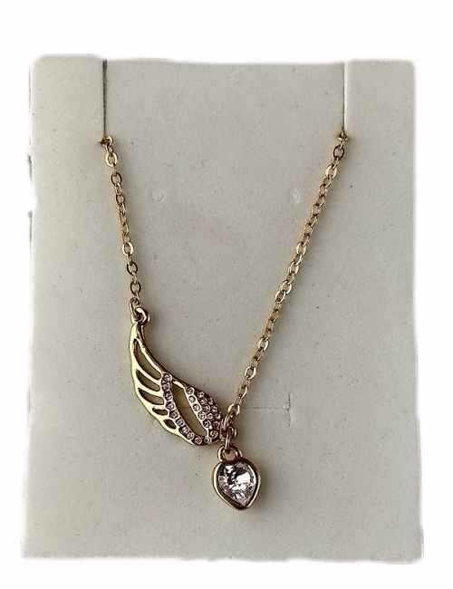 Colgante con forma de Ala y Corazón un colgante muy original cristal de Swarovski color Blanco