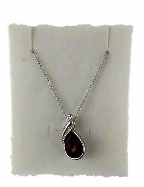 Colgante en forma de Lagrima con cristal de Swarovski color Granate
