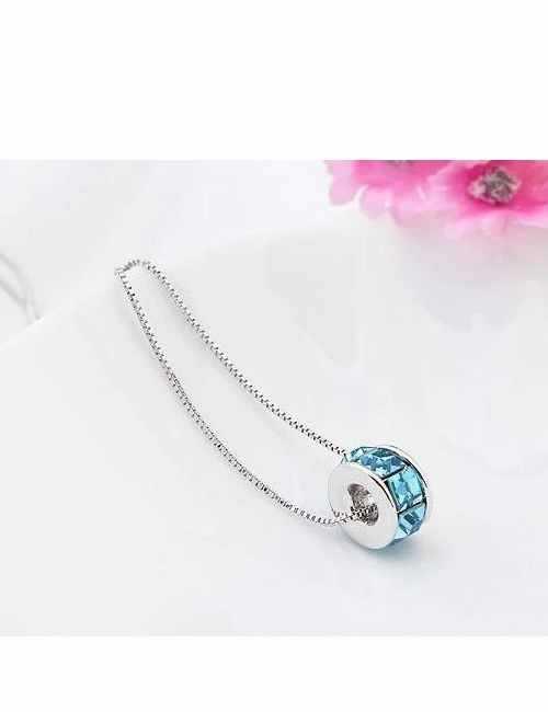 Colgante Original con forma de Rueda con cristales de Swarovski color Azul
