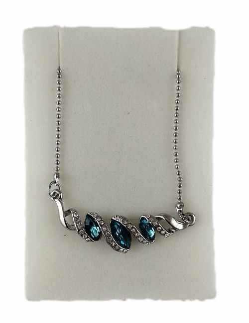 Colgante en forma de Rombos con cristales de Swarovski color Azul