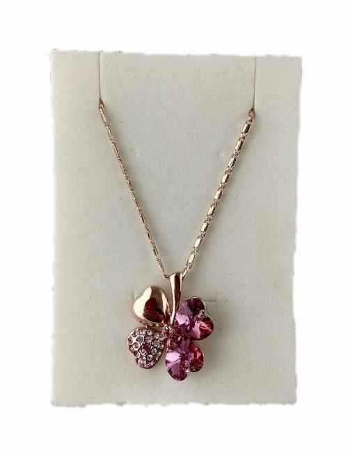 Colgante con forma de Trébol cristales de Swarovski color Rosa
