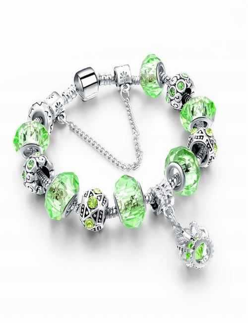 Pulsera estilo Pandora en color Verde con cristales de Swarovski