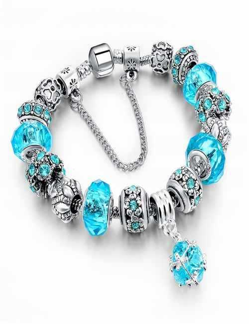 Pulsera estilo Pandora en color Azul con cristales de Swarovski