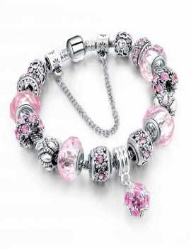 Pulsera estilo Pandora en color Rosa con cristales de Swarovski