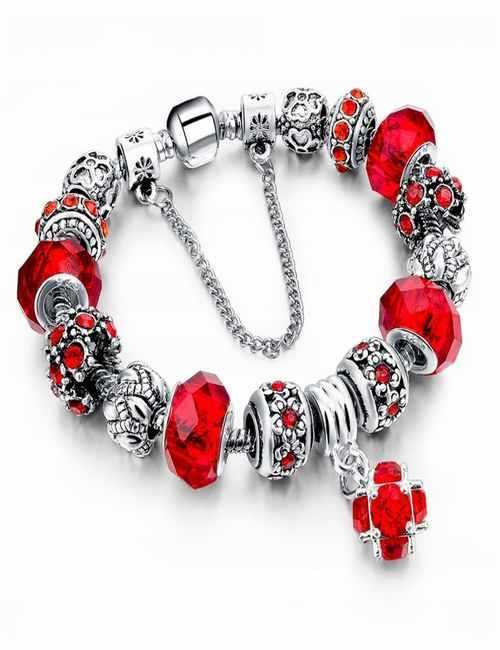 Pulsera estilo Pandora en color Roja con cristales de Swarovski