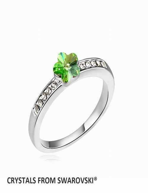 Anillo con flor de color verde con cristal de Swarovski