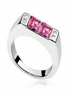 Anillo con dos cristales de Swarovski color Rosa