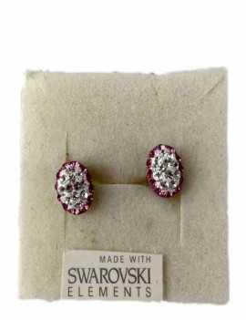 Pendientes forma Ovalados con dos colores blanco y rosa con cristales de Swarovski