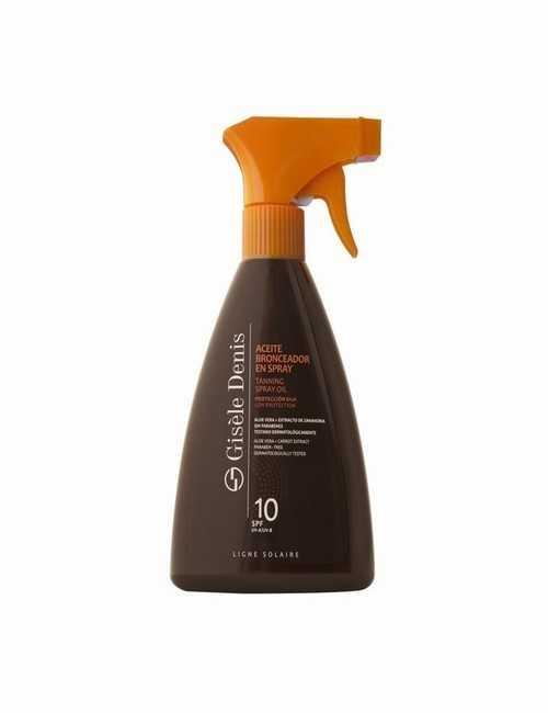 Aceite Bronceador en formato Spray SPF 10 marca Gisele Denis