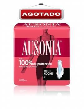 Compresas con alas de noche marca Ausonia 9 unidades