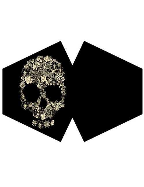 Mascarilla reutilizable con filtro tamaño adulto Flower Skull