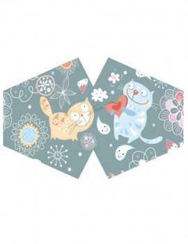 Mascarilla reutilizable con filtro tamaño niño Happy Cats