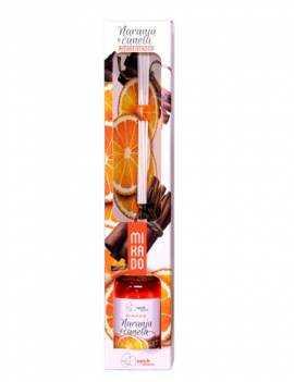 ambientador mikado con aroma a Canela y Naranja.
